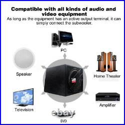 10'' Inch 1200W Active Amplified Car Subwoofer Audio Sub Box Enclosure+Wire