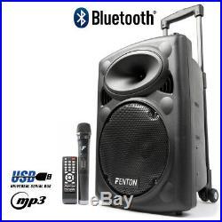 10 Inch Active Powered DJ Speaker Bluetooth Wireless Mic USB MP3 Battery 150W