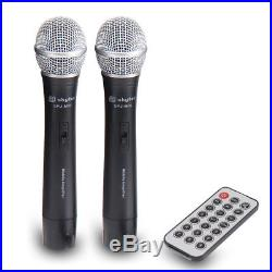 12 Inch Portable Active PA Speaker VHF Mics MP3 Bluetooth 500W Battery Powered