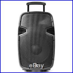 15 Inch Portable 2-Way Loud Speaker Wireless UHF Mics USB MP3 Bluetooth Remote