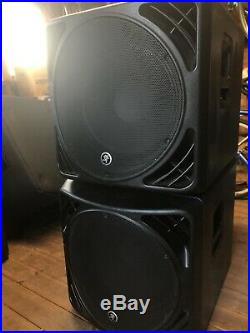 2 Mackie SRM1550 active 15inch powered subwoofer (with covers)