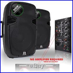 2x Ekho RS15A 15 Inch Active Speakers DJ Disco PA Karaoke Party 1600W Set