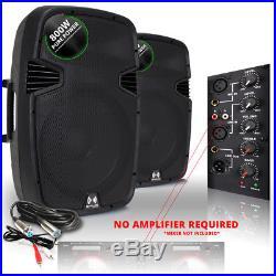 2x Ekho RS15A 15 Inch Active Speakers Studio DJ Disco Karaoke Party 1600W