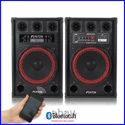 800W 12 Inch PA Powered Speaker Set with Bluetooth USB SD MP3 & DJ Microphones