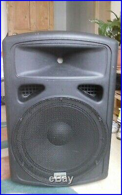 A pair of Studiospares 15A, 15-inch Active PA Speakers, Fortissimo range