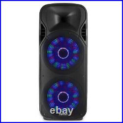 Active Powered DJ Speaker Double 15 Inch PA System Bluetooth & UHF Microphones