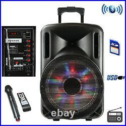 BeFree Sound 12 Inch 2500 Watt Bluetooth Portable Party PA Speaker With Illumin