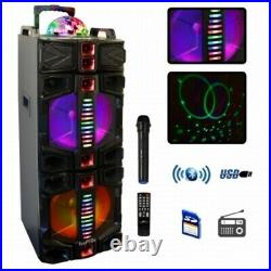 BeFree Sound Dual 12 Inch Subwoofer Portable Bluetooth Party Speaker with LED Li