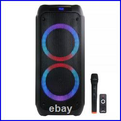 BeFree Sound Dual 8 Inch Bluetooth Wireless Portable Party Speaker with React