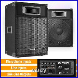 CHOICE Fenton CSB 12 15 Pair Active DJ Speakers PA Sound System with Mixer Amp