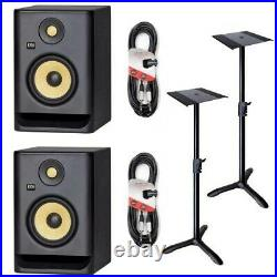 KRK Rokit RP5 G4 5 inch Studio Monitors with bundle stands and leads- Black