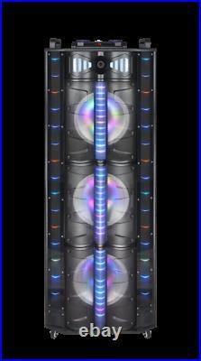 MPD1224L 3 12 Inch Portable LED DJ Karaoke Speakers Lights DJ 18,500 Watts LOUD