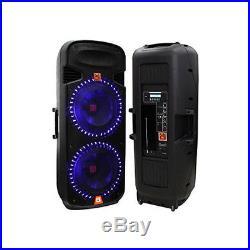 Mr. Dj PBX6100LED Dual 15-Inch 3-Way Portable Speaker