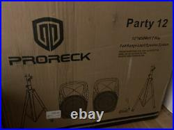 PRORECK Portable 12 Inch 1000W 2-Way Powered PA Speaker System Bluetooth/USB/LED