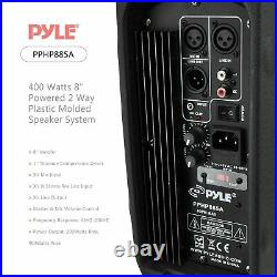 PYLE-PRO PPHP885A 400 Watts 8-Inch Powered 2 Way Plastic Molded Speaker System