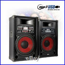 Pair 12 Inch Active Party Speakers USB Plug & Play Karaoke DJ Mic Inputs 1200W