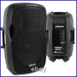 Pair Active Powered 15 Inch PA Speaker SystemVonyx AP1500A 1600W Max UK Stock
