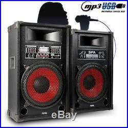 Pair Skytec Active PA Karaoke 12 Inch Speakers MP3 USB Bluetooth 1200W UK Stock
