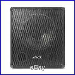 Pair of Active Powered PA Subwoofer 15 inch Low Pass Bass Speakers DJ Disco Sub