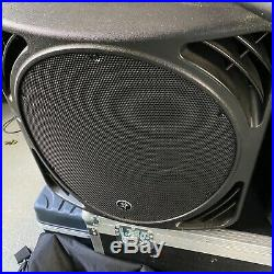 Pair of Mackie SRM1550 15 inch sub woofers. With mounting poles