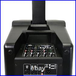 Powered Portable Column Array PA System 4x3 Column Speaker & 10 Inch Subwoofer