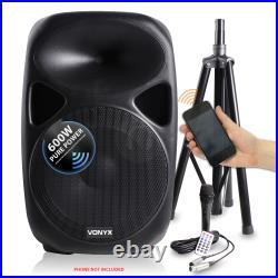 SPS Active Powered PA Speaker System 15 Inch Wireless + Microphone DJ 1200W
