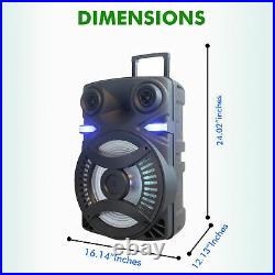 Technical Pro 3000 W Rechargeable 15 Inch Bluetooth LED Speaker Package w Tripod