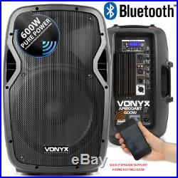 VONYX AP1200ABT 12 Inch Bluetooth DJ Disco Speaker with Built in Amplifier USB
