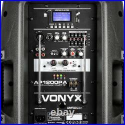 Vonyx 170.334 12 Inch Active Battery Bluetooth PA Speaker & Mics 600W