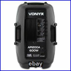 Vonyx Active PA Speaker AP1200A 12 Inch 300W RMS DJ Party Disco Monitors