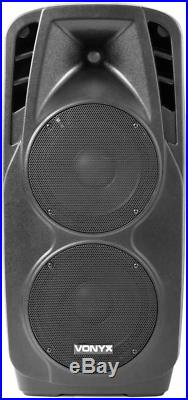 Vonyx Double 10 Inch Active Bluetooth Dj Pa Speaker System 1000 Watts USB with