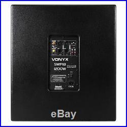 Vonyx Pro 18 inch Powered DJ Active Subwoofer Bass Bin Sub Speaker 1200W