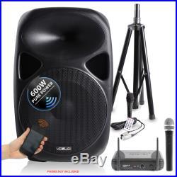 Vonyx SPS152 15 Inch Active Bluetooth Speaker Wireless Handheld VHF Microphone